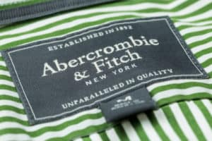 Label of the Abercrombie & Fitch brand on shirt